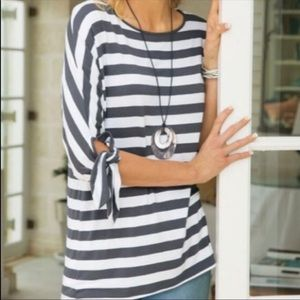 Soft Surroundings Adrift Gray and White Stripe Top
